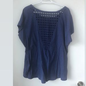Tops - Blue Checkered Open Back T-Shirt (2X)
